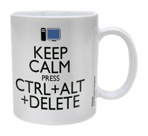 Taza Keep Calm Press Ctrl+Alt+Delete. CálleseYCojaMiDinero.com