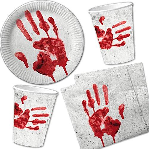 Vasos, platos y servilletas sangrientas. CálleseYCojaMiDinero.com