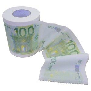 Papel higiénico de billetes de 100 euros. CálleseYCojaMiDinero.com