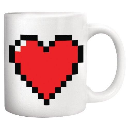 Taza pixel 8bit corazón reacciona al calor. CálleseYCojaMiDinero.com