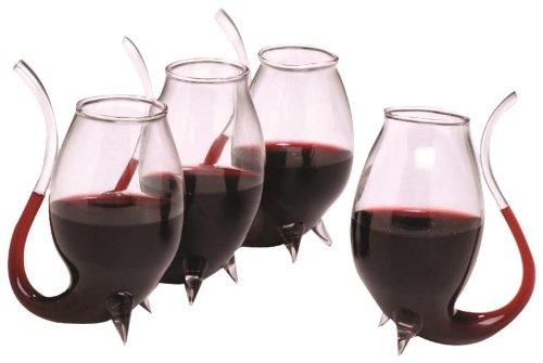 Set de vasos de vino con pajita incorporada. CálleseYCojaMiDinero.com
